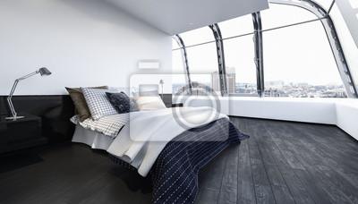 Super Bett in luxus schlafzimmer mit holzboden fototapete • fototapeten XB32