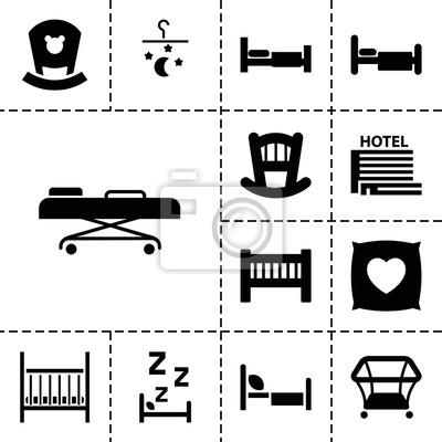 Bett Symbole Set Von 13 Editierbaren Gefullten Bett Icons
