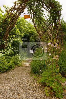 Bewachsener Torbogen Mit Weg In Einem Garten Fototapete