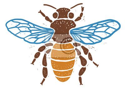 Biene Linolschnitt Linolschnitt Illustration Zeichnen Tinte