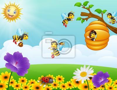 Bienen Fliegen Um Den Bienenstock Im Garten Fototapete Fototapeten