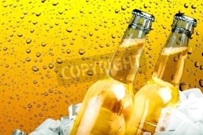 Fototapete Bier, Bierflasche, Eis.