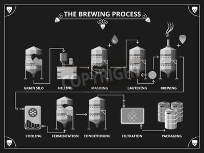 Fototapete Bier brauen Prozess. Vector Bierproduktion Infografik-Set. Bestellen mashing lautering Produktabbildung