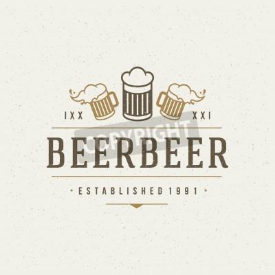 Fototapete Bier-Design-Element in Vintage Style für Symbol.