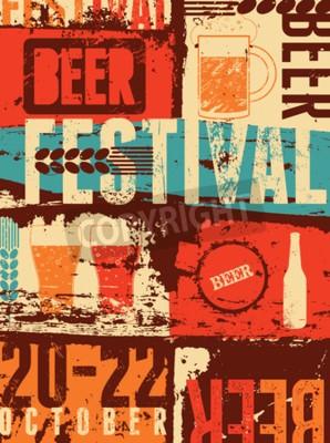Fototapete Bier-Festivalweinleseart-Schmutzplakat. Abbildung.