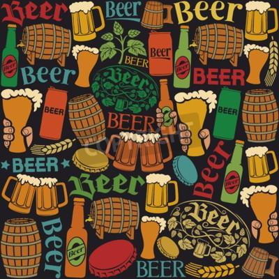 Fototapete Bier-Icons nahtlose Muster Bier Hintergrund, Hopfen Blatt, Hop-Branche, Holzfass, Glas Bier, Bierdose, Flaschendeckel, Bierkrug, Bier Bierflaschen