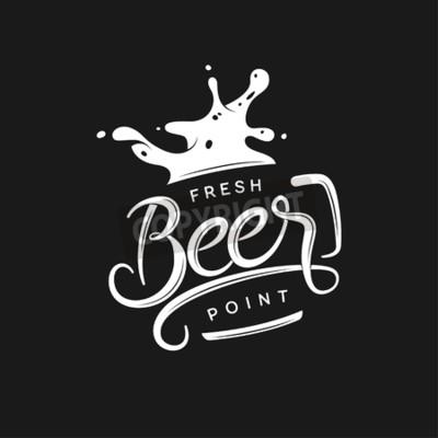 Fototapete Bier-Punkt-Typografie. Vector vintage Schriftzug Illustration. Tafel-Design-Element für Bier-Pub. Bierwerbung.