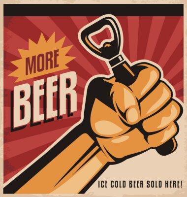 Fototapete Bier Retro Poster-Design mit der Revolution Faust