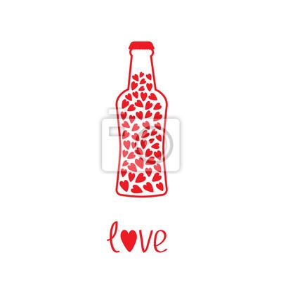 Bierflasche mit Herz im Inneren. Liebe Karte
