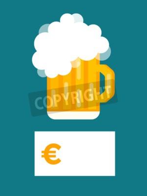 Fototapete Bierflasche Preis leere Vektor. Bierflasche, Bierglas und Bier-Label. Bier-Cup Silhouette, Bier Vektor-Icons, Bier isoliert. Oktoberfest Bier Vektor-Set. Bier trinken, Bier Zeichen, Preis leer Euro