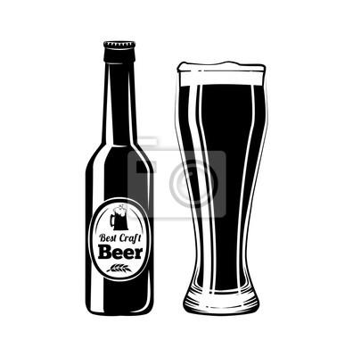 Bierflasche Und Glas Alkohol Trinken Vintage Vektor