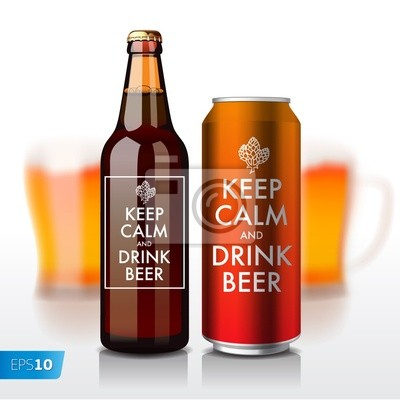 Bierflasche und kann