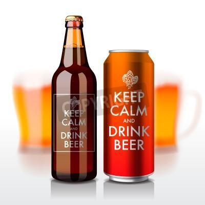 Fototapete Bierflasche und können mit Etikett - Keep Calm und Bier trinken, Vektor eps10 Illustration.