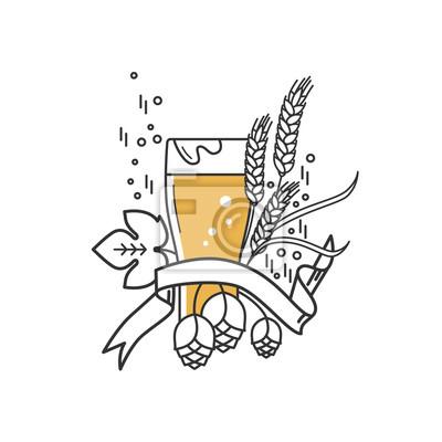 Bierglas, hopfen und weizen. lineares symbol zeichen, symbol ...