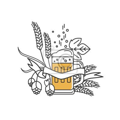 Bierkrug, hopfen, weizen und band. lineares symbol zeichen ...
