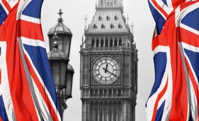 Fototapete Big Ben in London und englische Flagge