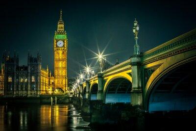 Fototapete Big Ben und Häuser des Parlaments in der Abenddämmerung, London, UK