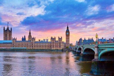 Fototapete Big Ben und Westminster Bridge mit Themse
