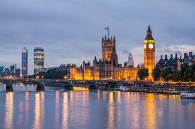 Fototapete Big Ben und Westminster-Brücke in der Abenddämmerung, London, UK