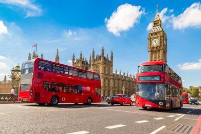 Fototapete Big Ben, Westminster Bridge, roter Bus in London