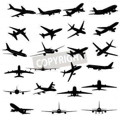 Fototapete Big collection of different airplane silhouettes.