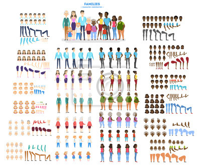 Fototapete Big family character set for the animation