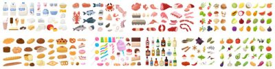 Fototapete Big food set. Collection of various meal, fish and meat, vegetables