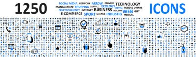 Fototapete Big set 1250 icons: business, shopping, device, technology, medical, ecology, crypto, e-commerce, social media, management, arrow, food & drink and many more for any cases of life using – vector