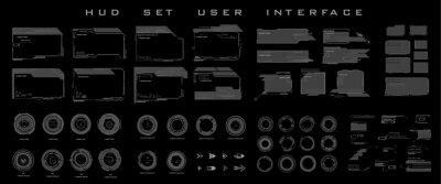 Fototapete Big set frames, dialog boxes, targets, futuristic elements for navigating the game interface. Set futuristic HUD frames and titles, UI UX for HUD UI or video game elements