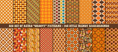 Fototapete Big set of 18 colorful retro patterns. Vector trendy backgrounds in 70s style. Abstract modern geometric and floral ornaments, vintage backgrounds