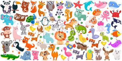 Fototapete Big set of cute cartoon animals. Vector illustration.