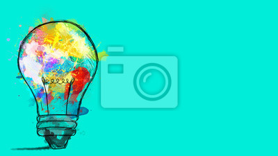Fototapete Big stylized light bulb on cyan background drawn with splashes of colored paint. Concept of innovation and creativity