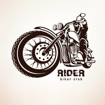 Fototapete Biker, Motorrad-Grunge-Vektor-Silhouette