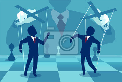 Fototapete Bild des unbekannten Managers, der Leute als Marionetten spielt