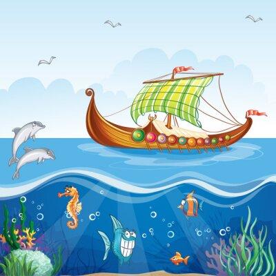 Bild des Wassers Welt mit Handelsschiffen Viking S.VI.