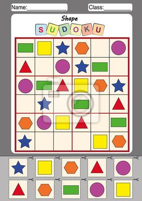 Bild sudoku für kinder, schneiden und einfügen fototapete ...