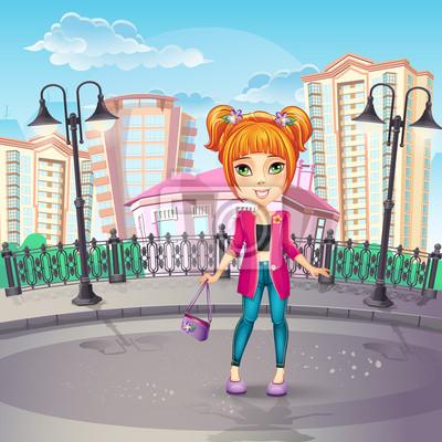 Bild von der Stadt-Promenade mit einem Teenager-Mädchen in einem rosa Jacke