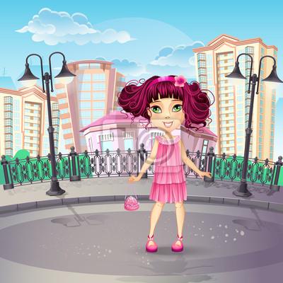 Bild von der Stadt-Promenade mit einem Teenager-Mädchen in einem rosa Kleid.
