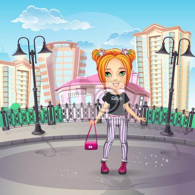 Bild von der Stadt-Promenade mit einem Teenager-Mädchen in Jeans.
