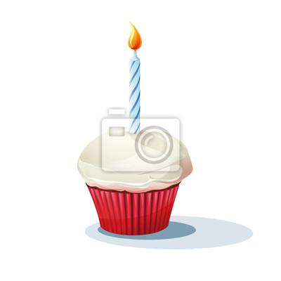 Bild von Kuchen mit einer Kerze.