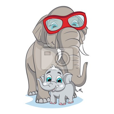 Bild von Mutter Elefanten mit Baby-Elefanten.