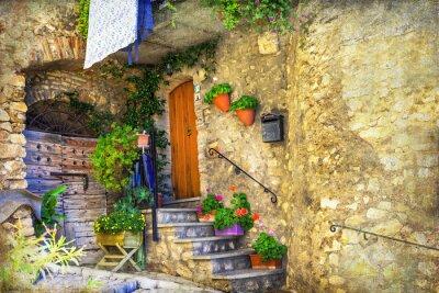 Fototapete Bildliche alte Straßen von italienischen Dörfern