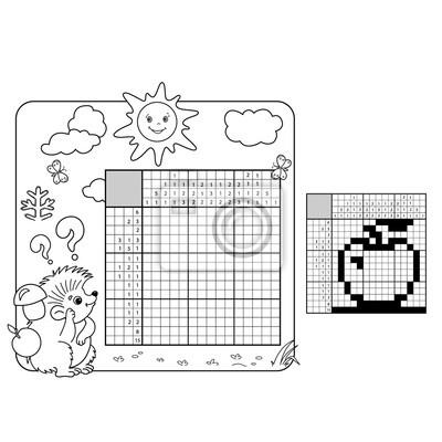 Bildung puzzle spiel für die schule kinder. apfel. schwarz-weiß ...
