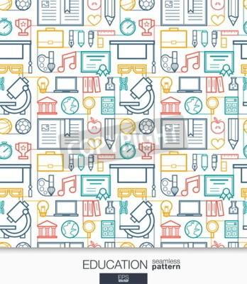 Fototapete Bildung Tapete. Schule und Universität verbunden nahtlose Muster. Fliesen Texturen mit dünnen Linie integrierte Web Icons gesetzt. Vektor-Illustration. Zusammenfassung E-Learning-Hintergrund für mobil