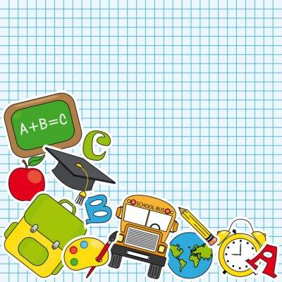 Fototapete Bildung und Schule-Icon-Set. Platz für Text