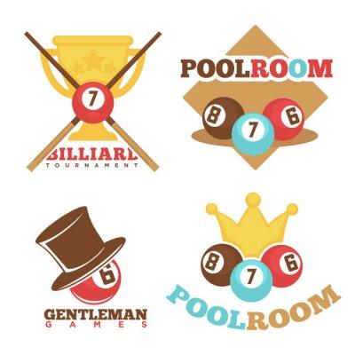 Billard pool club poolroom vektor etiketten vorlagen gesetzt ...