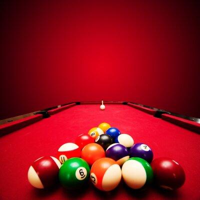 Fototapete Billards Pool-Spiel. Farbe Kugeln in Dreieck, mit dem Ziel Spielball
