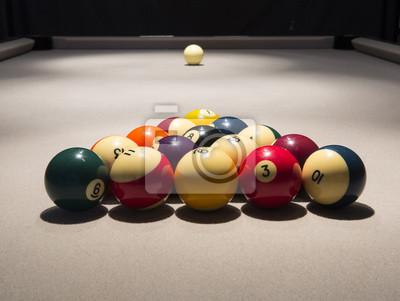 Billardtisch, Racked Balls und Queue Ball