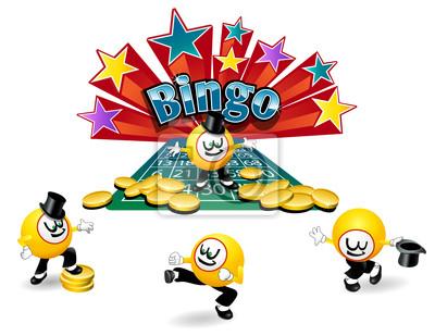 Bingo Ball Cartoon Charakter mit verschiedenen aktiven Posen