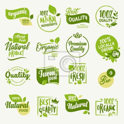 Fototapete Bio-Lebensmittel, Bauernhof frische und natürliche Produkte Zeichen und Elemente Sammlung für Lebensmittel-Markt, E-Commerce, Bio-Produkte Förderung, gesundes Leben und Premium-Qualität Essen und Trin